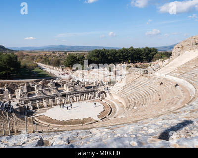 Theatre of Ephesus Ancient City at november at sunny day, Turkey. - Stock Photo