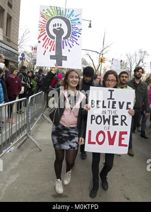 Hundreds of thousands of New Yorkers attended the Women's March in New York City on the one year anniversary of - Stock Photo
