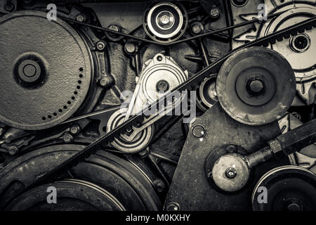 close-up car engine, internal combustion engine. black and white photo - Stock Photo