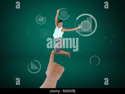 Hand choosing a business woman on green background with graph - Stock Photo