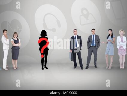 Question mark on silhouette with business people - Stock Photo