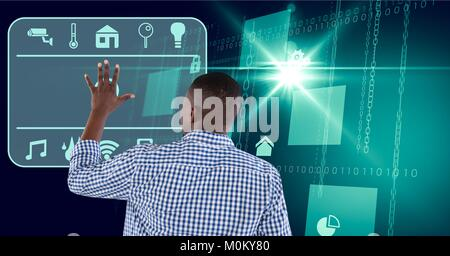 Man touches interface in digital domain background - Stock Photo
