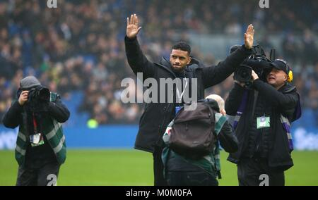 Brighton's new 14 Million pound signing Jurgen Locadia from PSV is introduced to the fans before the Premier League - Stock Photo