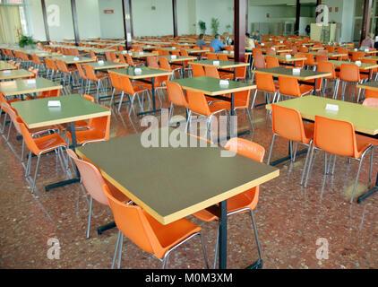 Empty dining room in Montserrat monastery near Barcelona, Spain - Stock Photo