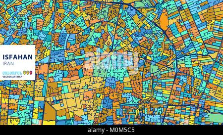 Isfahan,Iran, Colorful Vector Artmap. Blue-Orange-Yellow Version for Website Infographic, Wall Art and Greeting - Stock Photo