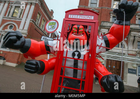 London, UK. 23rd February, 2017. On the opening day of the London Toy fair, Ben 10 character breaks out of London - Stock Photo