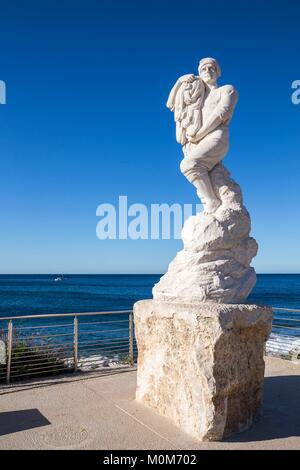 France,Bouches du Rhone,Cassis,statue of Calendal of the sculptor Cornu on the esplanade of the port,Promenade Aristide - Stock Photo