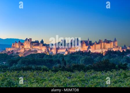 France,Aude,Carcassonne,medieval city of Carcassonne listed as World Heritage by UNESCO - Stock Photo