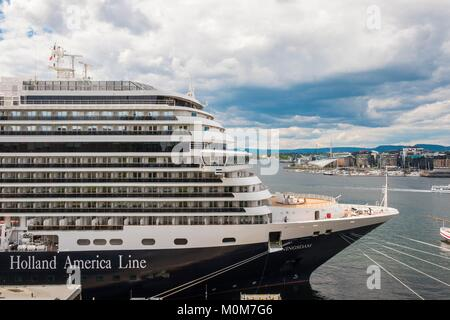Norway,Oslo,the fjord,the quays of Pipervika,cruise liner - Stock Photo