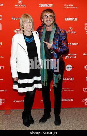Park City, UT, USA. 22nd Jan, 2018. Sharon Anstey, Tom Felton at arrivals for OPHELIA Premiere at Sundance Film - Stock Photo