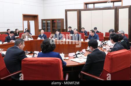 (180123) -- BEIJING, Jan. 23, 2018 (Xinhua) -- Wang Yang, a member of the Standing Committee of the Political Bureau - Stock Photo