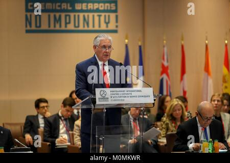 Paris, France. 23rd January, 2018. U.S. Secretary of State Rex Tillerson delivers remarks at the International Partnership - Stock Photo