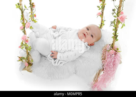 Happy beautiful baby girl, 4 months old, - Stock Photo