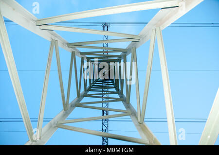 internal view of the mast of high electric current - Stock Photo
