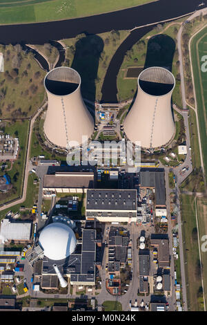Grohnde nuclear power plant, nuclear power, nuclear power plant on the River Weser, cooling towers, pressurized - Stock Photo