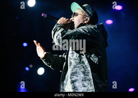 The American rapper and lyricist Nas performs a live concert during the Danish music festival Roskilde Festival - Stock Photo