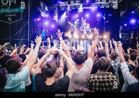 The Polish festival goers have a fantastic and energetic time at a Andrew W.K. concert at Off Festival 2014 in Katowice. - Stock Photo