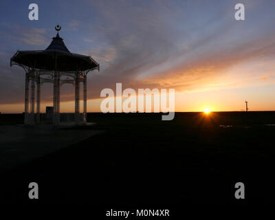 Sunset behind bandstand, West Battery Gardens, Southsea, Portsmouth, England, UK - Stock Photo