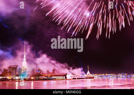 St. Petersburg, Russia - February 23, 2015: Fireworks in honor of the Day of the defender of Fatherland. Artillery - Stock Photo