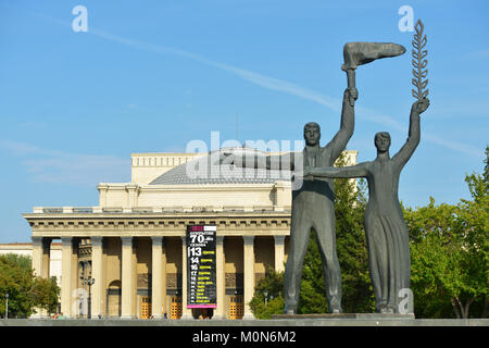 Novosibirsk, Russia - August 25, 2014: Fragment of the monument to V. I. Lenin on the main square. Multi-figure - Stock Photo