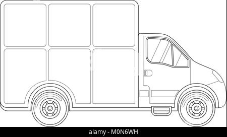 Black and white delivery truck side view. - Stock Photo