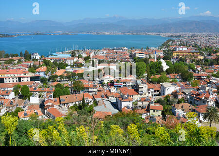 Fethiye, Turkey - April 1, 2014: View to the bay from the castle. Dozens boat tours to 12 islands of the bay offered - Stock Photo