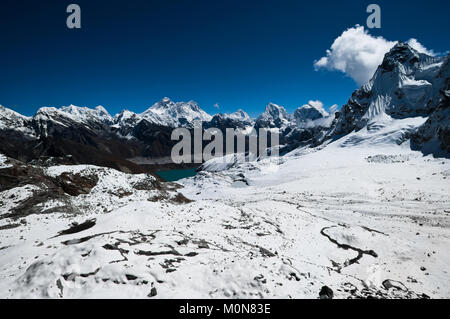 View from Renjo Pass: Everest Mt. and Gokyo lake. (shot at height 5435 m) - Stock Photo
