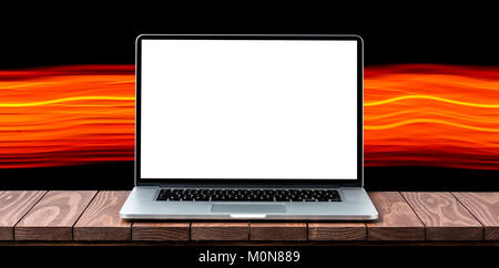 Modern laptop with empty white screen - Stock Photo