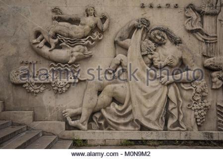 Paris, Palais de Tokyo, Flachrelief an der Fassade (13 Avenue du PrÈsident Wilson, 75016 Paris) - Stock Photo
