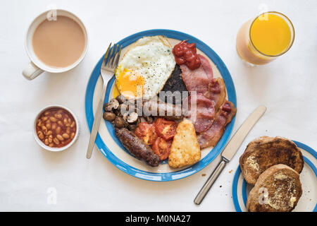 Full english cooked breakfast from above. UK - Stock Photo