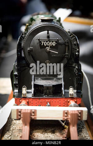 Scale model of black team engine locomotive - Stock Photo