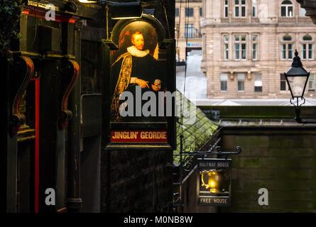 Pub signs for Jinglin Geordie and Halfway House pubs in dark alley, Fleshmarket Close, Edinburgh, Scotland, UK, - Stock Photo