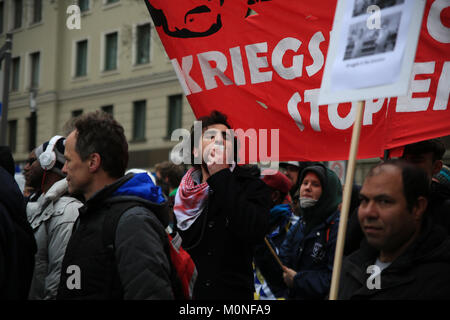 Munich, Germany. 18th Feb, 2017. Up to 4000 people participated at the demonstration around the conference site. - Stock Photo