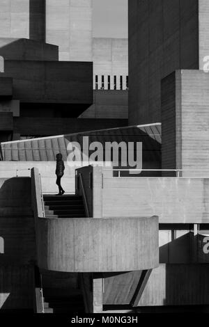 London Black and white urban photography: Royal National Theatre, Southbank. - Stock Photo