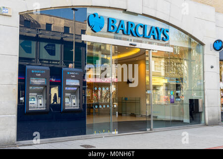 Entrance of a Barclays bank branch located along a High Street in England 2018, UK - Stock Photo