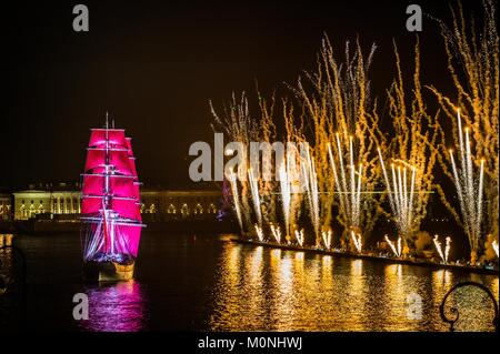 Celebration Scarlet Sails show during the White Nights Festival, June 24, 2013, St. Petersburg, Russia. - Stock Photo
