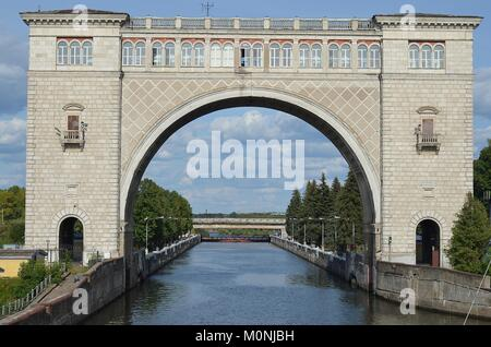 APPROACHING UGLICH LOCK ON THE VOLGA RIVER. - Stock Photo