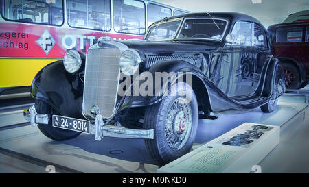 STUTTGART, GERMANY-APRIL 7, 2017: 1939 Mercedes-Benz 320 Streamlined Sedan (W142/II) in the Mercedes Museum. - Stock Photo
