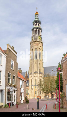city view of Middelburg including the lange jan located in the dutch province of Zeeland - Stock Photo