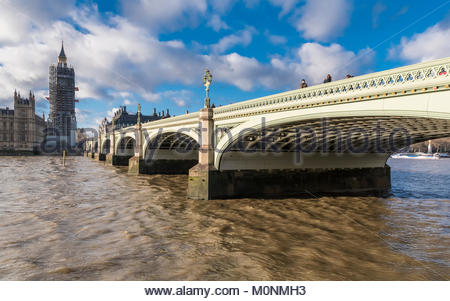 Westminster Bridge looking towards the Palace of Westminster with scaffolding for renovation works in January 2018 - Stock Photo