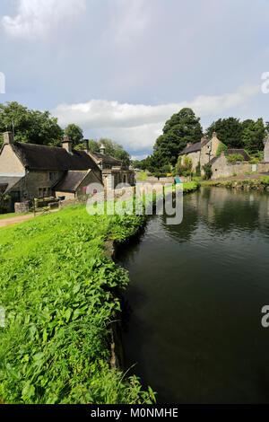 Summer, Tissington village green and duck pond; Peak District National Park; Derbyshire; England; UK - Stock Photo