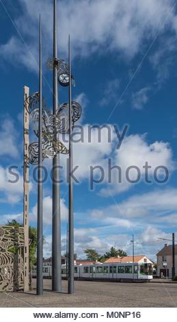 Nantes, Tramway, Rue de la Chapelle, Station Les Couets - Stock Photo
