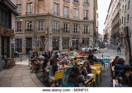 Lyon, 1. Arrondissement, Rue des Capucins (Das 1. Arrondissement liegt am Hang des Croix-Rousse und auf der nördlichen - Stock Photo