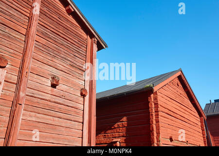 Red wooden houses in Oulu city center. Finland highlight destination - Stock Photo