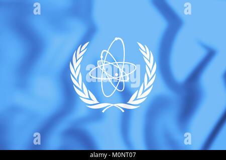 3D Flag of International Atomic Energy Agency. 3D Illustration. - Stock Photo