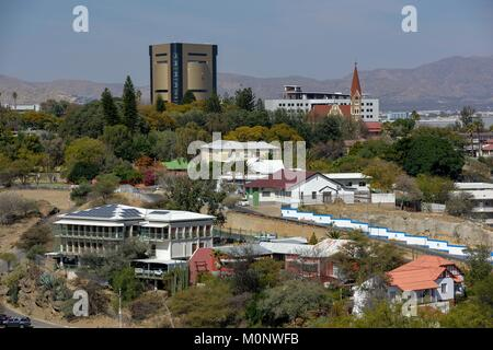 View of the city from Lover's Hill,Independence Museum and Christuskirche,Windhoek,Khomas Region,Namibia - Stock Photo