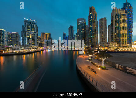 View of Dubai Marina, an affluent residential neighbourhood in Dubai, UAE, United Arab Emirates - Stock Photo