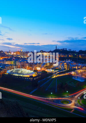 Twilight view towards Our Dynamic Earth,Scottish Parliament Building and the Calton Hill,Edinburgh,Scotland,United - Stock Photo