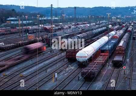 Train formation plant in the suburb of Vorhalle,marshalling yard,freight trains,Hagen,Ruhr area,North Rhine-Westphalia - Stock Photo