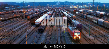 Panorama train formation facility in the suburb of Vorhalle,marshalling yard,freight trains,Hagen,Ruhr area - Stock Photo